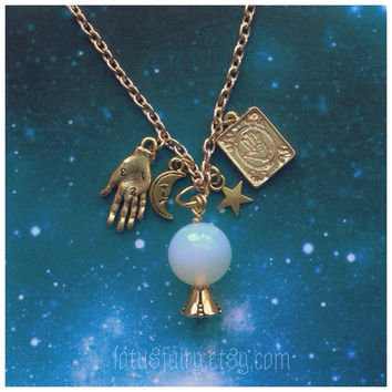 Opalite Crystal Ball Palmistry necklace, gold tone, star, moon, charms,