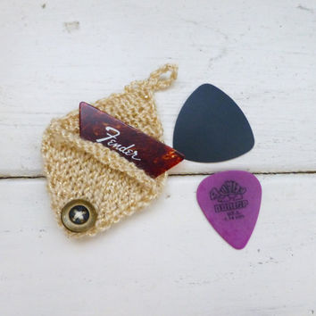 Knit guitar pick cozy, guitar pick holder, knit holder, tan pick holder, button closure, ready to ship, handmade, rock star, musician gift