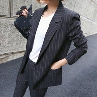 ONETOW Womens business suitstyle british retro casual striped ladies suit  lady professional two piece sets
