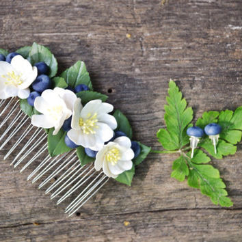 Rustic hair comb, Blueberry hair, Cherry blossom hair comb,  Polymer clay hair comb, rustic comb, rustic hair accessories, polymer clay