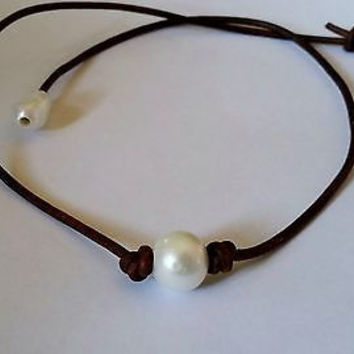 High Quality Freshwater Pearl and Genuine AA Leather Necklace/choker Same or next day Ship