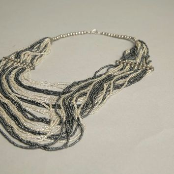 Ethnic Vintage Jewelry Gray Seed Beads Bold Bib Necklace