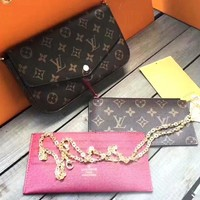 LV Newest Fashionable Women Shopping Monogram Leather Shoulder Bag Crossbody Purse Wallet Card Package Set Three Piece (Wine red internal)