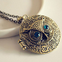 Retro Blue Eye Owl Locket Necklace Save 49%!