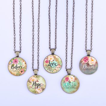 Love/Hope/Dream/Faith/Believe/Wish Vintage Necklace Letter Glass Cabochon Pendant Bronze Quote Necklace Girl Jewelry Women Gift