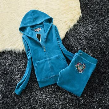 Juicy Couture Studded Love Flowers Logo Crown Velour Tracksuit 6131 2pcs Women Suits Blue