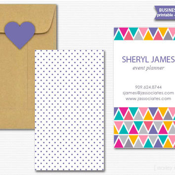 Geometric Business Cards Printable DIY Calling Cards Mommy Cards Digital File PDF Customized