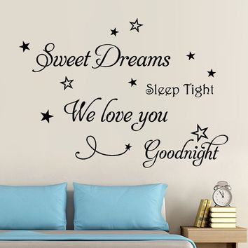 Sweet Dreams Removable Art Vinyl Mural Home Room Decor Wall Stickers,