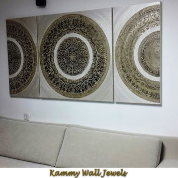 Original abstract metallic gold-champagne oil painting, 3 piece circles modern wall art, Extra large painting on canvas , Huge house artwork