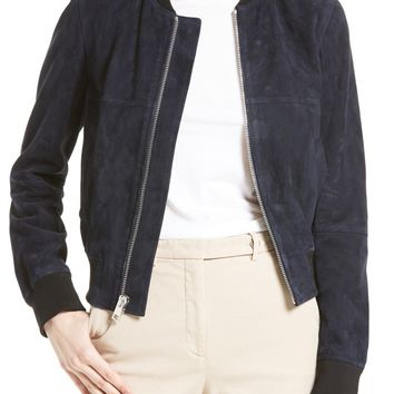 Theory Daryette S Benna Suede Bomber Jacket | Nordstrom
