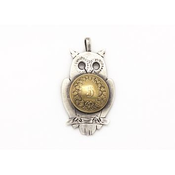 Swiss Old Coin Owl Necklace- 5 Rappen Coin of Switzerland