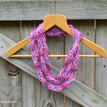 Infinity Rope Scarf, Finger Knit Scarf, Purple Accessory