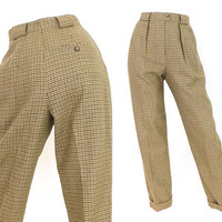 Vintage 90s High Waisted Checked Wool Pants -Size 4 Petite Women's Beige & Brown Houndstooth Pleated Front Trousers -Baggy Tapered Leg Jones