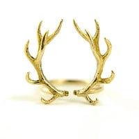 Deer Antler Ring Antique Golden Color Bronze Adjustable Ring Horns Wrap Ring Boho Jewelry - FRI001YB