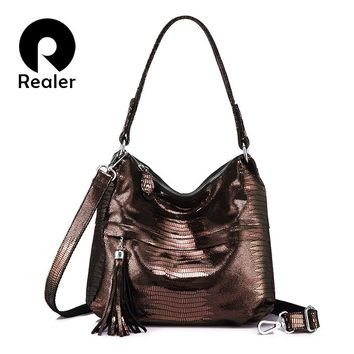 REALER women bag ladies genuine leather handbag hobos female tassel shoulder messenger bags leather tote bag cross body prints
