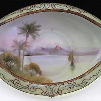 Nippon Porcelain Dish Bowl Hand Painted Raised Enamel Antique Ship Palm Trees