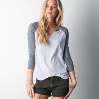 AEO SPLIT NECK BASEBALL T-SHIRT