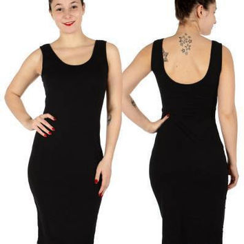 Sleeveless Lower Scoop Neck Midi Dress In S,M,L in 4 Colors