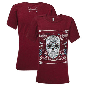 Southern Couture Lightheart Sugar Skull Front Print Triblend T-Shirt