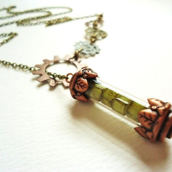 Steampunk Green Glass Cube Filled Copper Time Capsule & Gear Lariat Necklace