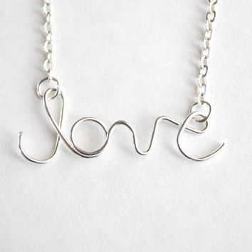 Silver Love Necklace. Cursive Love. Wire Word Necklace by Paperface Studio
