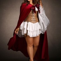 Stretch Velvet Long Cape with Wide Ribbon