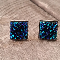 Druzy earrings-  Ocean blue chunky square drusy silver tone stud druzy earrings