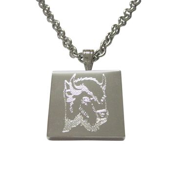 Silver Toned Etched Bison Head Pendant Necklace