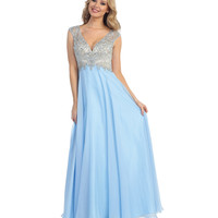 Perry Blue & Nude Beaded Open Back Chiffon Gown 2015 Prom Dresses
