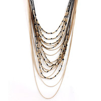 Metal Mix Fabric Ingot Icon Simple Long Necklace