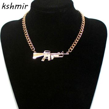 Accessories fashion star metal heavy rihanna pistol scatter-gun necklace female necklace Popular gold and silver Man necklace