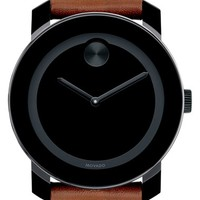 Men's Movado 'Bold' Leather Strap Watch, 42mm - Brown/ Black