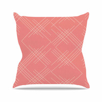 "Famenxt ""All A Blaze Abstract"" Coral Beige Illustration Throw Pillow"