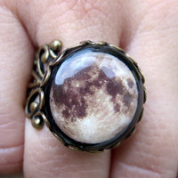 Adjustable Antique Brass Moon Filigree Ring - Handmade - Boho - Bohemian Jewelry
