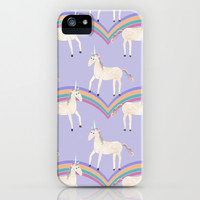 Unicorn Pattern on Pastel Purple iPhone & iPod Case by Tangerine-Tane