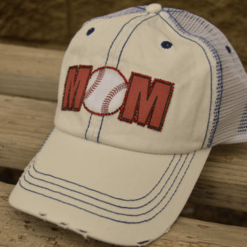Baseball mom trucker cap can be customized with colors that match your child's team or school colors