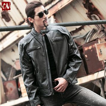High quality Locomotive style motorcycle leather jacket men cowskin thick Liner Detachable chaquetas cuero de hombre warm XS-3XL