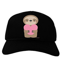 TooLoud Cute Valentine Sloth Holding Heart Adult Dark Baseball Cap Hat - Black