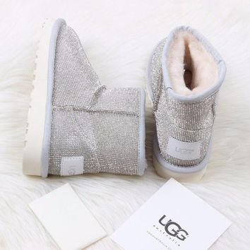 Best Online Sale Ugg 5854 White Classic Mini Sheepskin Boot Snow Boots #12