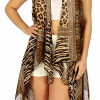 Multi Animal Print Vest one Size Fits Most in 2 Colors
