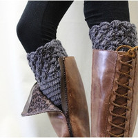 Boot Cuff, Boot cuffs, boot socks cuff, crochet  boot liners, handmade, knit, knitted, BOOTIE CUTIE dark grey crochet boot topper | BC0