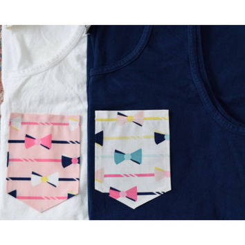 Bowtie Fabric Pocket T-Shirt or Tank Top