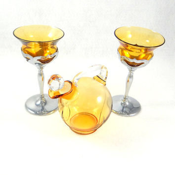 Art Deco Amber Glass Decanter and Amber Glasses with Chrome Stems by Farber Brothers