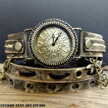Wrap Watch. Leather Wrap Watch. Vintage Inspired Leather Watch, Womens Watch, Watch, Womens Gift. Bracelet Watch, Distressed Army Green