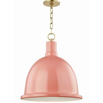 Baza Pendant, Aged Brass and Pink