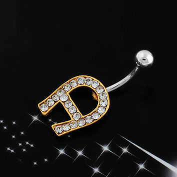 Strong Character Stylish Korean Alphabet Diamonds Accessory Stainless Steel Hot Sale Belly Ring [6768790023]