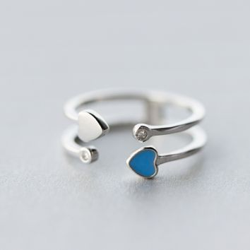 Love color matching double ring (925 sterling silver) + Gift box ALQ