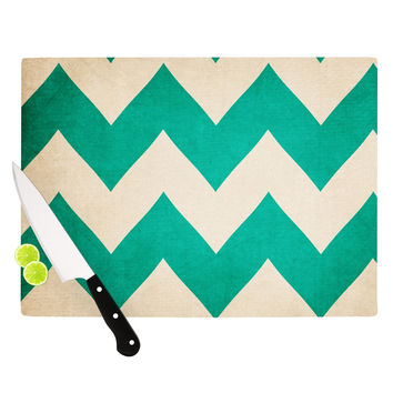 "Catherine McDonald ""2013"" Teal Chevron Cutting Board"