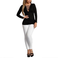 T-Shirt Sexy V Neck Bodycon Bandage Lace Up T-Shirt Long Sleeve Tops S-2XL