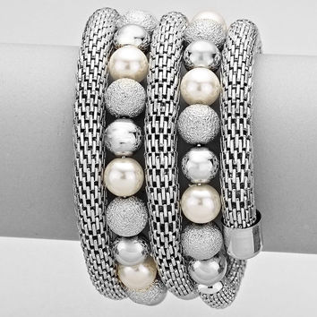 "1.75"" wide silver faux pearl metallic bead wrap coil snake bracelet bangle cuff"